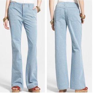 NWOT Free People Striped Wide Leg Jeans Sz 26